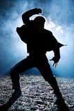 Dancing man silhouette Royalty Free Stock Image