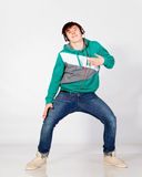 Dancing man in studio Royalty Free Stock Photos