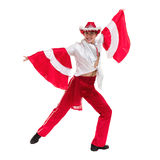Dancing man wearing a toreador costume. Isolated on white background. Royalty Free Stock Images