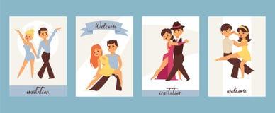 Dancing man and woman ballroom, sports dances. Tango, waltz, Latin American dances vector illustration. Dance studio. Dancing couple background banner, flyer stock illustration