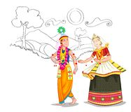 Dancing Manipuri couple Stock Images