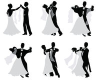 Dancing married couples. Set of  silhouettes of dancing married couples Royalty Free Stock Image
