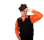 Dancing-master. Business in the rhythm of salsa, manager-dancer in brown hat Royalty Free Stock Photo