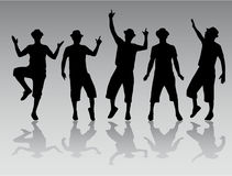 Dancing men silhouettes Royalty Free Stock Photography