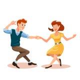 Dancing men and woman stock illustration