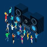 Dancing Men And Women. With stereo sound symbols on blue background isometric vector illustration Stock Images