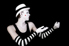 Dancing mime in white hat Stock Photos