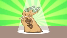 Dancing Money Bag. Money bag dancing on a stage stock illustration