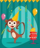 Dancing monkey birthday card Royalty Free Stock Photography