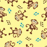 Dancing monkey to music seamless pattern Royalty Free Stock Image
