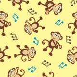 Dancing monkey to music seamless pattern Royalty Free Stock Image