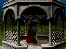 Dancing in the Moonlinght. Lovers dancing together in a moonlit gazebo. 3D models, computer generated Royalty Free Illustration