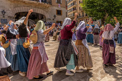 Dancing at the Moors and Christians Festival - Moros y Cristianos Fiesta, Soller, Mallorca. Participants at the annual Moors and Christians Festival celebrating Royalty Free Stock Photos