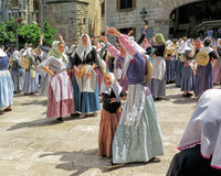 Dancing at Moors and Christians Festival - Moros y Cristianos Fiesta, Soller, Mallorca Royalty Free Stock Photo