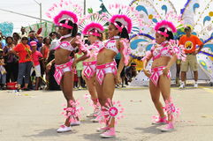Dancing moves. Parade girls dress in decorated costume dancing to reggae music and showing dance moves at the scotia caribbean festival held at the downsview Stock Photos