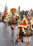 Dancing mummers Carnival scene Royalty Free Stock Images