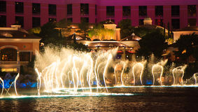 Dancing music fountain, Bellagio, Las Vegas Royalty Free Stock Photos
