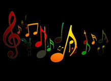Dancing Music Notes on Black Background Stock Photography