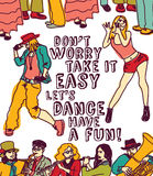 Dancing and music people positive poster color Royalty Free Stock Photos