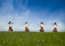 Dancing on nature Royalty Free Stock Photo