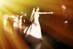 Dancing newlyweds Stock Photography