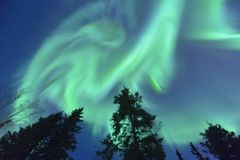 Dancing Northern lights Stock Photography