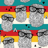 Dancing owls on disco party seamless pattern. Stock Photo