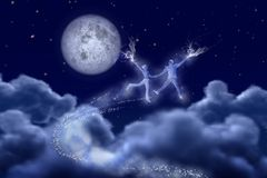 Dancing pair in moonlight Royalty Free Stock Photos