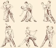 Dancing pair. Vector drawing of the dancing couple Stock Photo