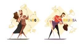 Dancing Pairs 2 Retro Cartoon Templates Royalty Free Stock Image