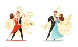 Dancing Pairs 2 Retro Cartoon Templates royalty free illustration