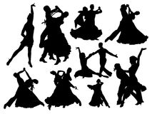 Dancing Pairs Silhouettes stock illustration
