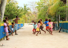 Dancing Papuan kids Stock Image