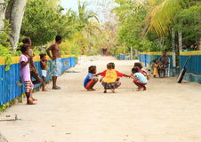 Dancing Papuan kids Stock Images