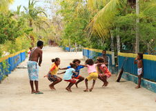 Dancing Papuan kids Royalty Free Stock Images