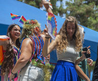Dancing participants of Gay Parade Royalty Free Stock Image