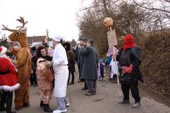 Dancing participants of Shrovetide in Čisovice Royalty Free Stock Photo