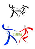 Dancing partner emblem in ribbon style. Black, blue and red dancing partner in ribbon style for sports and leisure logo or symbol design Stock Photo