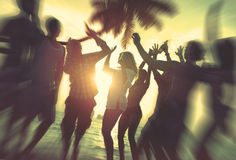 Dancing Party Enjoyment Celebration Outdoor Beach Concept Royalty Free Stock Photo