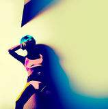 Dancing party girl. neon Party Royalty Free Stock Photos