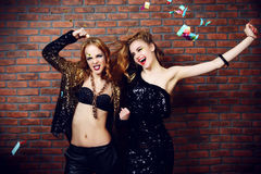 Dancing party girls Stock Images