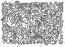 Dancing party pattern with doodled youngsters having fun Royalty Free Stock Photos