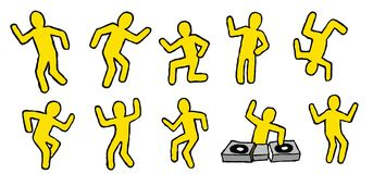 Dancing party people isolated vector pictogram Royalty Free Stock Image