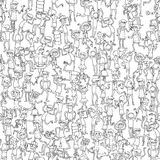Dancing party seamless pattern in black and white Stock Photos