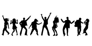 Dancing party silhouettes. A illustrated collection in black on white silhouettes of people in various dancing or disco poses Royalty Free Stock Photo