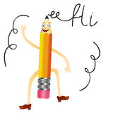 Dancing pencil with funny face, hands and lags writing Hi. On white background stock illustration