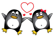 Dancing penguin couple Royalty Free Stock Photo
