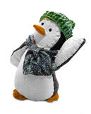 Dancing penguin in hat and scarf Royalty Free Stock Photos