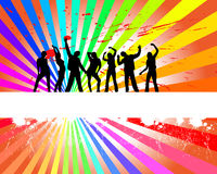 Dancing people. Vector illustration of many people silhouettes on a colorful grunge background Royalty Free Stock Photos