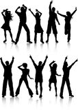 Dancing people. Silhouettes of people dancing on a white background Stock Photos